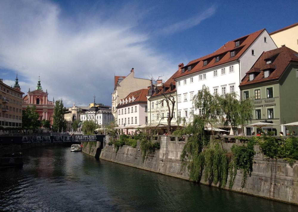 Fluss Ljubljanca in Ljubljana