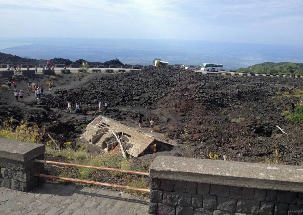 Haus unter Lava begraben