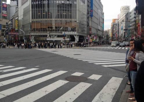 Rote Ampeln: Die Shibuya-Kreuzung ist menschenleer.