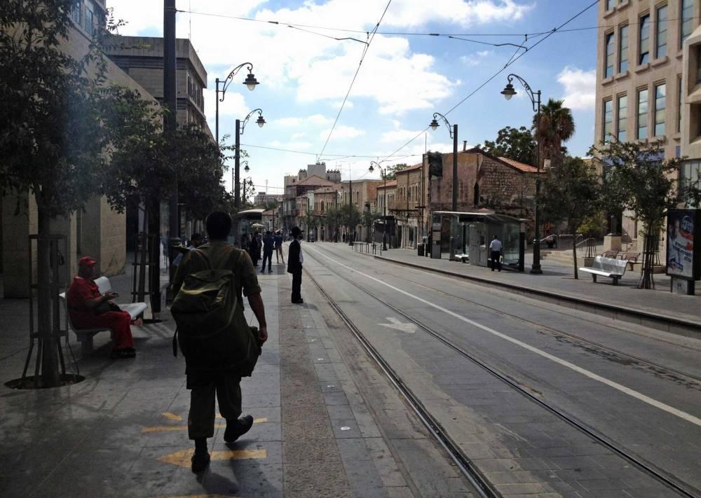 Straßenbahn in Jerusalem in Israel
