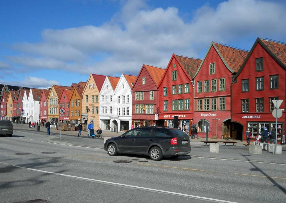 Stadtteil Bryggen in Bergen in Norwegen
