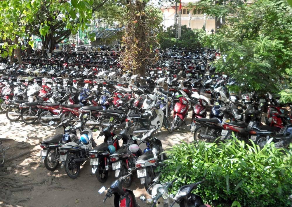 Motorroller-Parkplatz in Ho Chi Minh City
