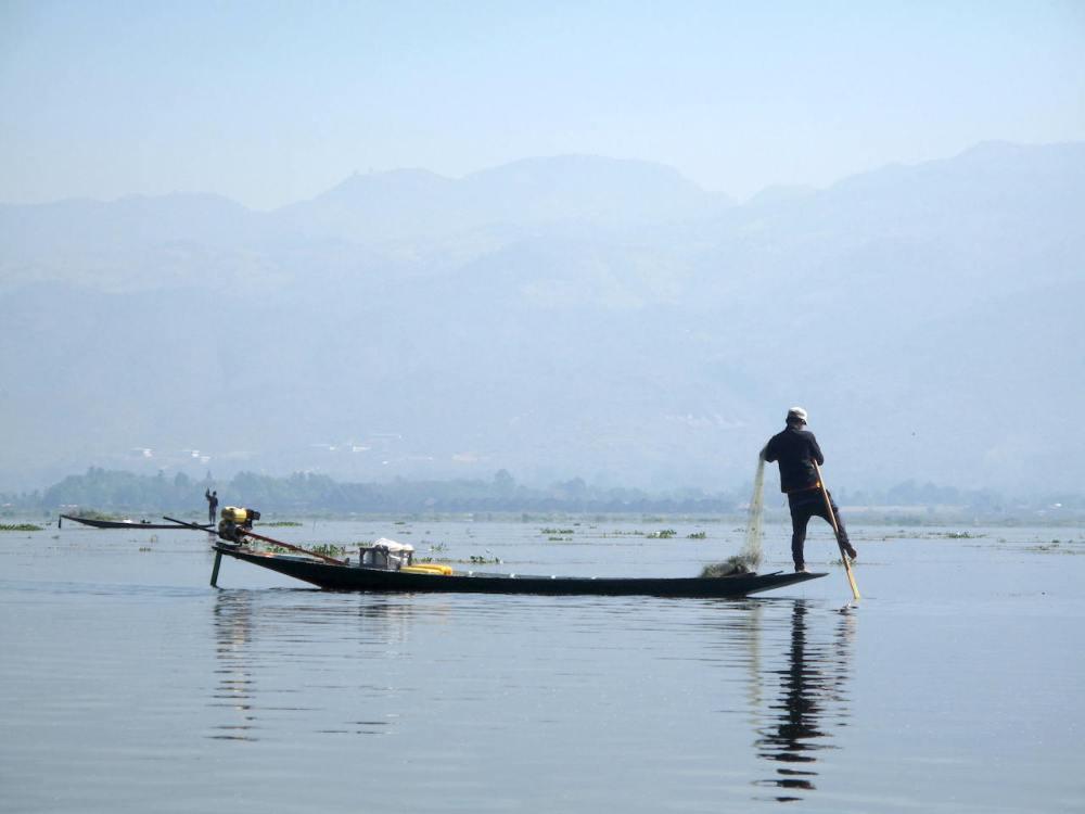 Einbeinige Fischer vom Inle-See